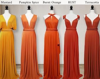 Fall Bridesmaid Dress Burnt Orange Dress / Mustard Dress / Rust Dress / Terrcotta Dress / Pumpkin Spice Dress Infinity Dress Convertible