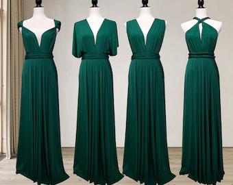 Forest Green Bridesmaid Dress infinity dress Convertible Dress Multi way Dress, Wrap dress Prom Dress, Maternity Dress Plus size & Petite