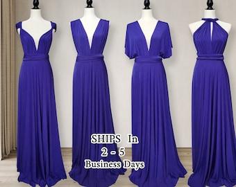 Indigo Blue Bridesmaid dress, Long Ball gown infinity dress, convertible dress, indigo multi Wrap Dress, prom dress, dress party