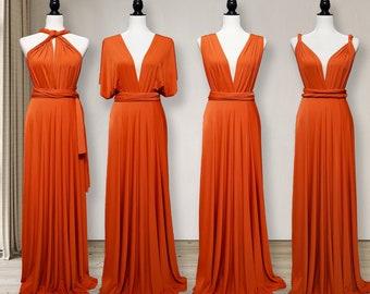 Burnt Orange Bridesmaid Dress convertible wrap dress, Burnt orange  infinity dress Multi-way Wrap Dress Maternity Dress Party Dress