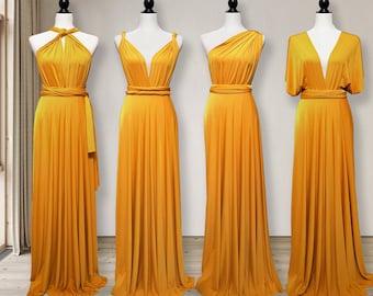 Mustard Bridesmaid Dress infinity dress Mustard Convertible Dress Multi way Dress, Wrap dress Prom Dress, Maternity Dress Plus size & Petite