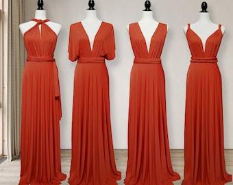 RUST Bridesmaid Dress infinity dress RUST Convertible Dress, Multi way Dress, Wrap dress Prom Dress, Maternity Dress Plus size & Petite