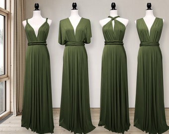 Dark Olive green Bridesmaid Dress infinity dress Convertible Dress Multi way Dress Wrap dress Prom Dress Maternity Dress Plus size & Petite