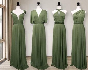 Light Olive Green Bridesmaid Dress infinity dress Convertible Dress Multi way Dress Wrap dress Prom Dress Maternity Dress Plus size & Petite