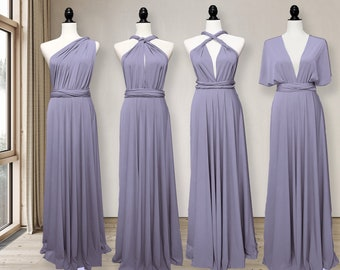Lilac Grey Bridesmaid Dress convertible wrap dress, Lilac Grey infinity dress Multi-way Wrap Dress Maternity Dress Party Dress