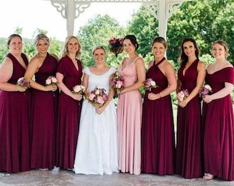 Burgundy Bridesmaid Dress Convertible Dresses Infinity Dress, ball gown, party dress, Coktail Dress, Prom Dress, Maroon Maternity Dress