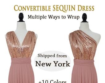 Gold Sequin bridesmaid dress Convertible Dusty Rose sequin bridesmaid dress, infinity dress