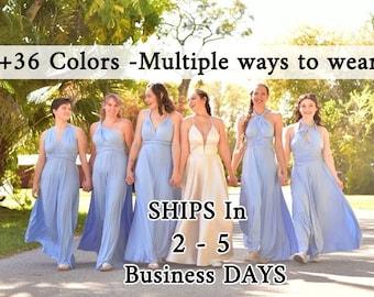 Baby Blue infinity bridesmaid dress, Sky Blue convertible dresses, party twist wrap dress, sleeveless dress, Evening Dress prom