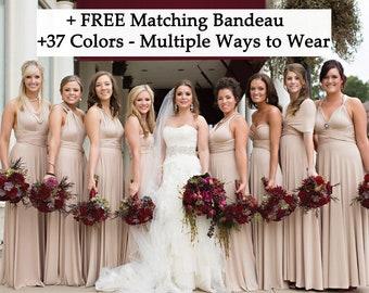 Beige infinity dress, Champagne Bridesmaid dress, prom dress, twist dress, convertible dresses, cocktail dresses, Toga dress cream