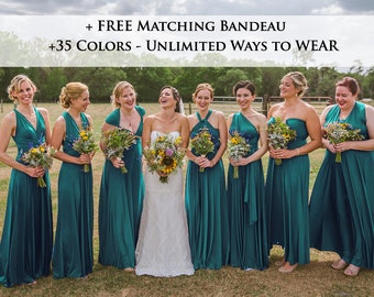 3fa5ac21762e Teal green Wrap dress convertible bridesmaid dresses, infinity dress,  sororities dress, infinity dress, prom dress, Ball gown: LONG dress