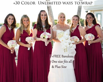 1b48fa13c7cc86 Burgundy Bridesmaid Dress Convertible Dresses Infinity Dress