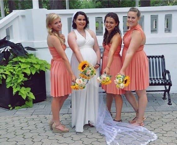 Peach Coral short Bridesmaid dress infinity Dress   Etsy