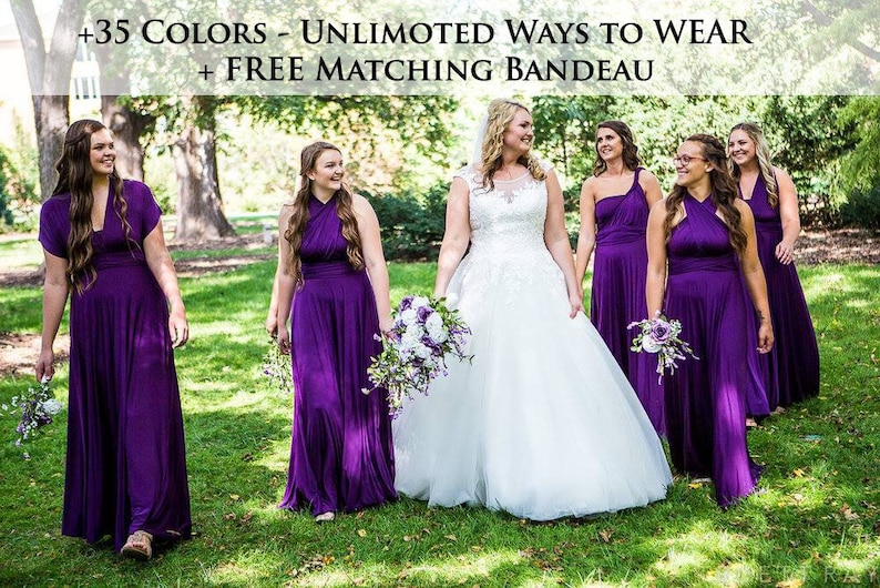 48868d28f68 Purple Bridesmaid dress party dress convertible dresses