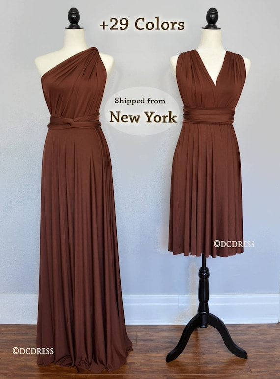 Chocolate Brown Bridesmaid Dress Infinity Dress Convertible Etsy