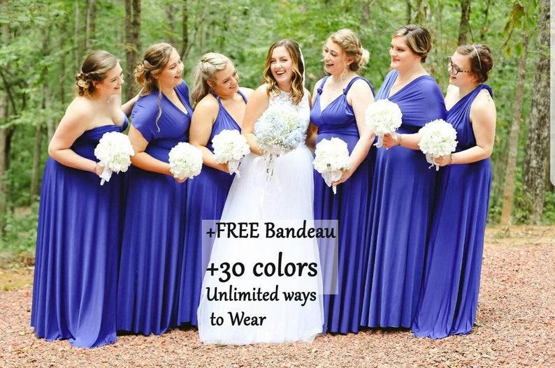 95dafd8f088 Royal Blue Bridesmaid dress bridesmaid dress Multiwrap dress