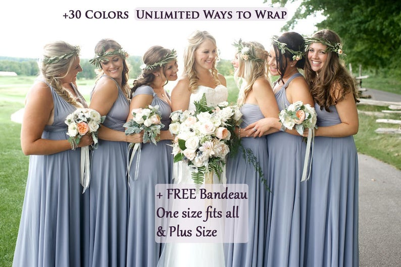 ca9c179d04 Dusty Blue Bridesmaid Dress infinity dress periwinkle