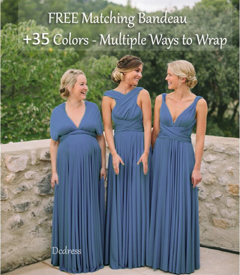f805444289 Steel Blue Bridesmaid Dress infinity dress Multiway Dress