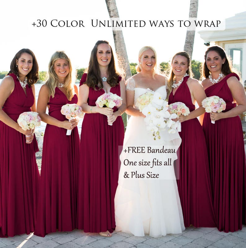 021db1cfd7 Burgundy Bridesmaid Dress Convertible Dresses Infinity Dress