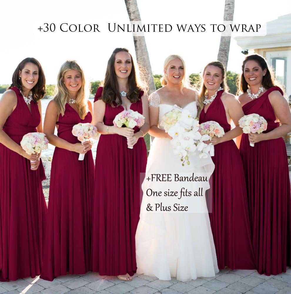 Burgundy Bridesmaid Dress Convertible Dresses Infinity