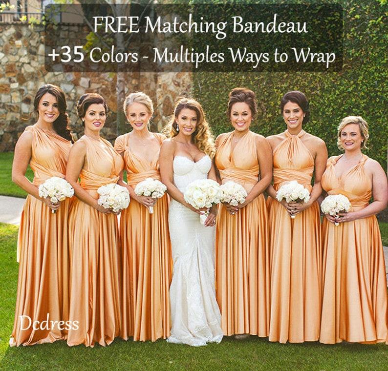 ba8c1cca576 GOLD Bridesmaid dress Gold Metallic infinity dress long