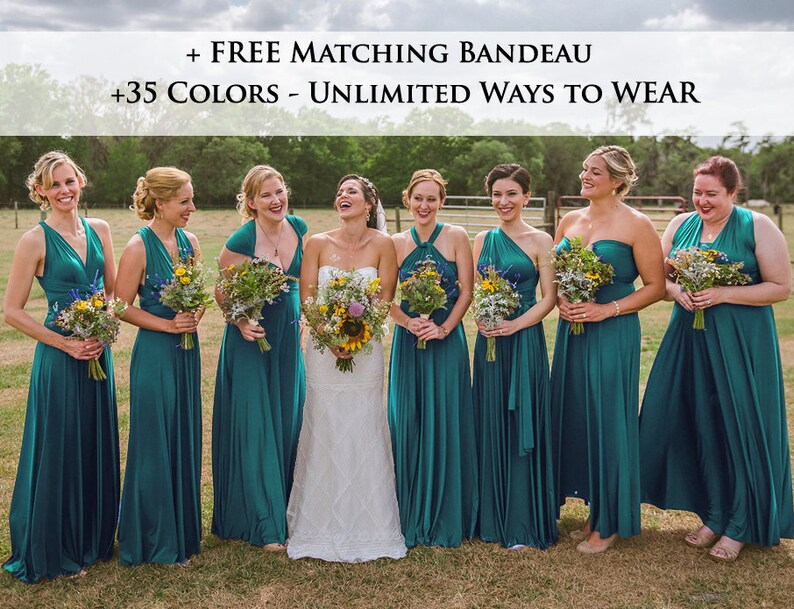 9551a2563d5 Teal green Wrap dress convertible bridesmaid dresses infinity