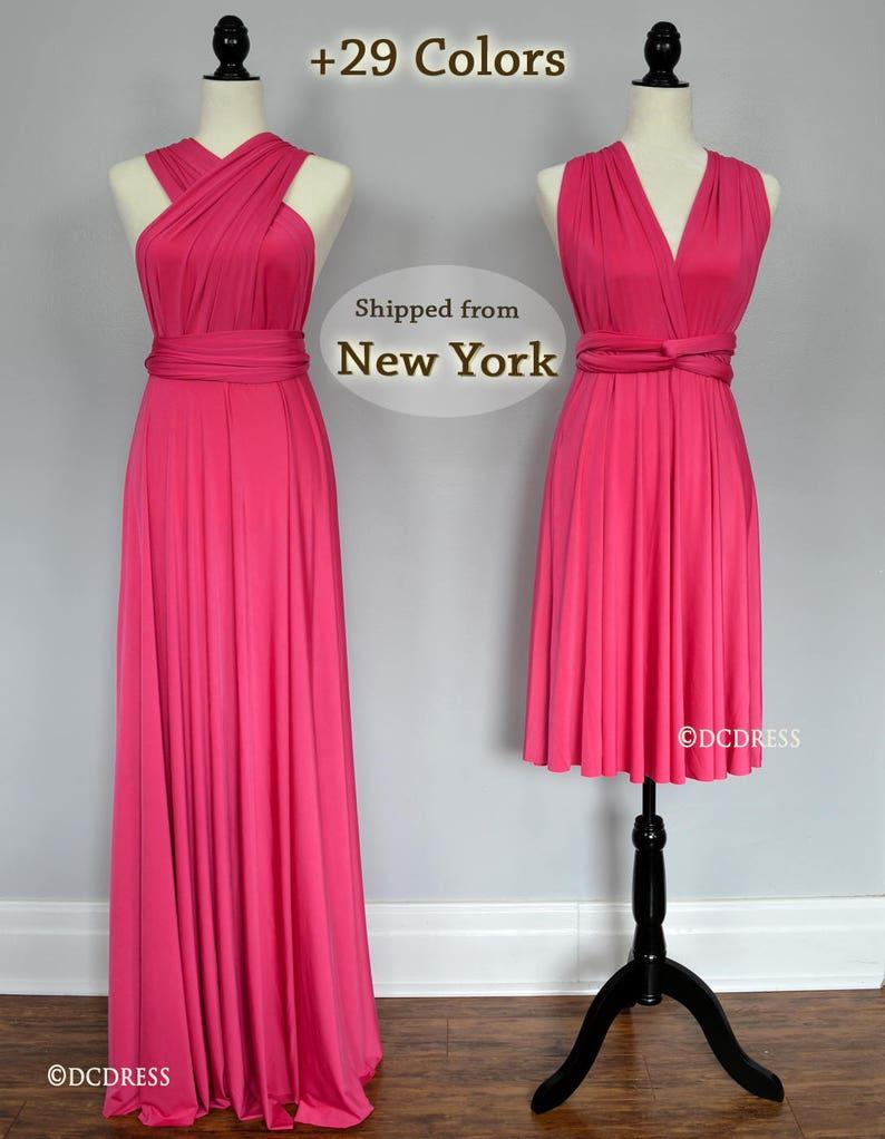 bebe299e41 Fuchsia party dresses hot pink convertible fuschia bridesmaid