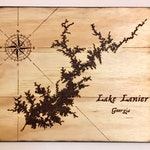 Lake Map with compass and custom lake location, Rustic woodburned lake, Wall art lake pyrography, Beach, wall hanging, custom lake art decor