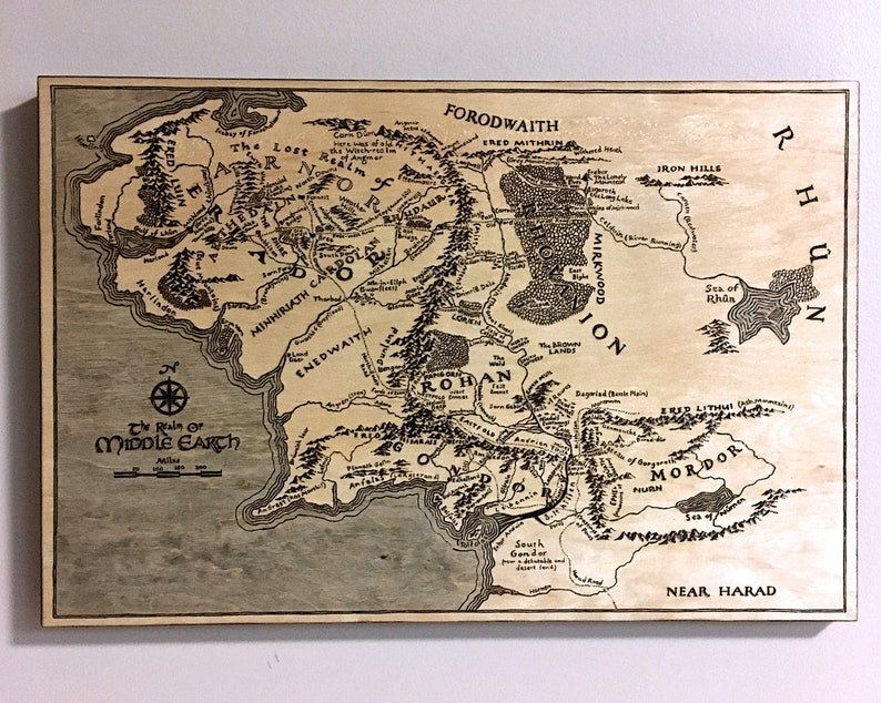 Middle Earth Map woodburned map of Tolkien Middle Earth | Etsy