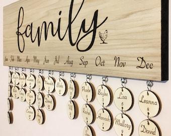 Custom Family Birthday Calendar with Names and Days, wedding anniversary hearts, woodburning, wall hanging, pyrography, custom name days