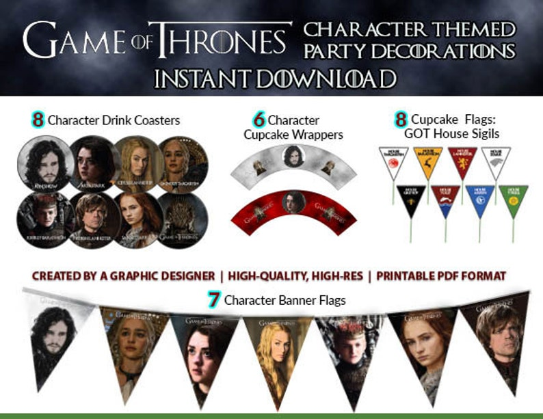 Game Of Thrones Party Decorations Instant Download Game Of Etsy
