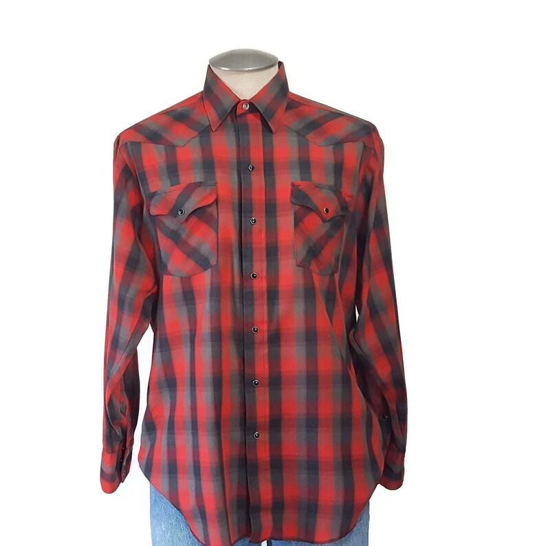 5810877f Vintage 70s Panhandle Slim Pearl Snap Western Shirt Mens Large   Etsy