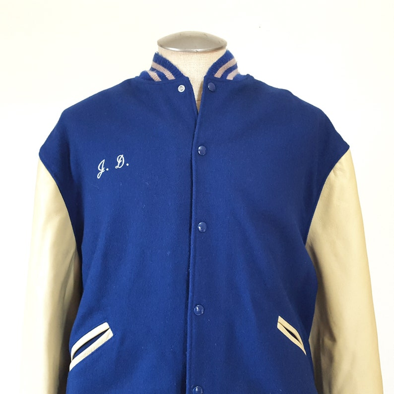 313f3b0bc71 Vintage XL Letterman Jacket Mens Whitefish Bay Blue Dukes High
