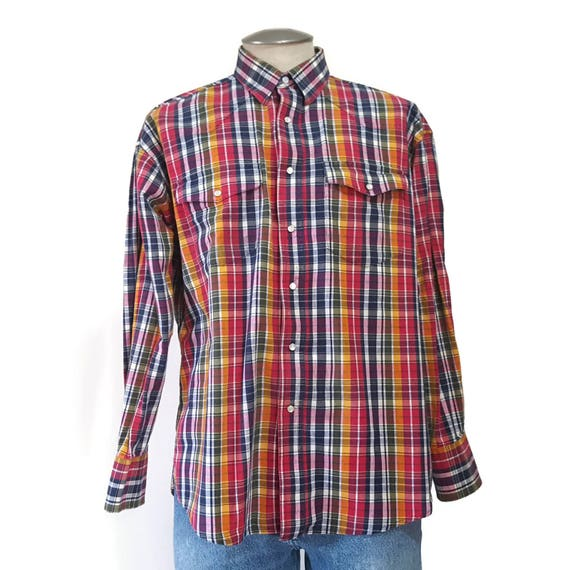 Vintage 80s Wrangler Pearl Snap Western Shirt Mens Large Cowboy Ranch Rodeo Rockabilly Red Blue Plaid Long Sleeve Snap Front