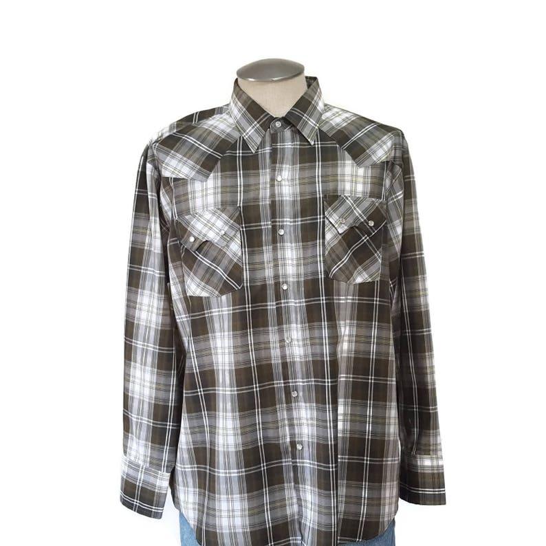 c5e47fc4a6 Vintage Ely Cattleman Pearl Snap Western Shirt Mens XL Cowboy