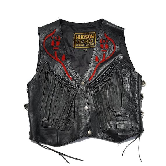 Hudson Leder schwarz Motorrad Weste Fransen geschnürt geflochten rote Rose Silber Conchos Moto Western Damen S USA