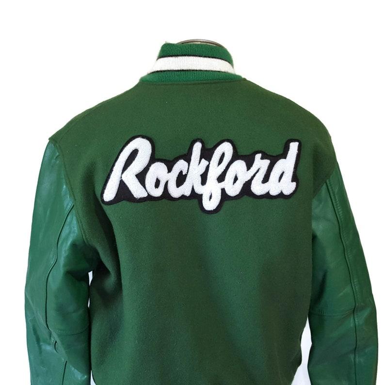 bef7edc7a Vintage Large Letterman Jacket Mens Green Rockford Rockateers High School  Football Wool 50s Retro Style Varsity Coat Rockabilly