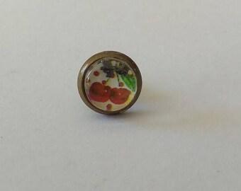 Cabochon, Stud Earrings, cherry