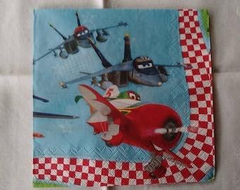 set of 2 napkins 33 x 33 planes