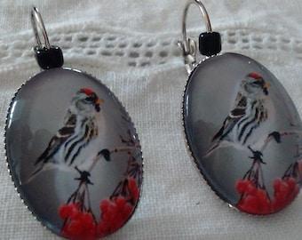 Gray bird glass cabochons Silver earrings