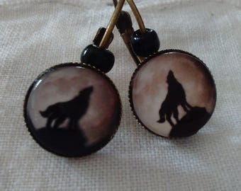 beautiful bronze metal sleepers, Wolf earrings