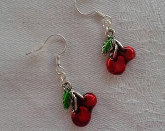 Earrings cherry pendants in silver for pierced ears