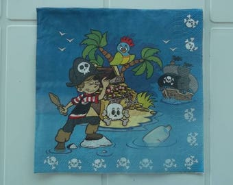set of 2 papierserviette pirate small paper napkins and his Treasure Island