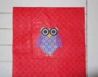 set of 2 napkins paper OWL or OWL?