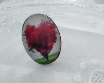 Ring adjustable oval tree of life glass cabochon with red heart