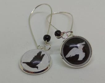 long Silver earrings, cabochon 16mm glass, black and white doves