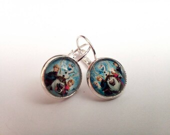Earrings silver metal cap glass snow Queen and her friends