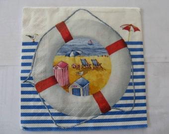 set of 2 lifebuoy, seaside paper napkins