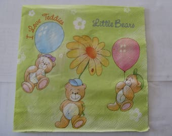 set of 2 paper napkins bear and balloons