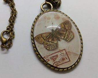 vintage Butterfly cameo cabochon necklace
