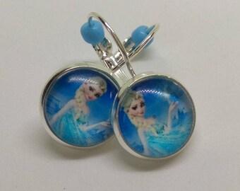 Earrings Silver 925 glass cabochon, Elsa frozen